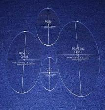 """Buy Oval Quilt Templates 4 Piece Set. 4"""", 6"""", 8"""",10"""" - Clear 1/4"""" Thick w/ Guideline"""