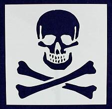"Buy Large Skull & Bones Stencil 14 Mil 12"" x 12"" Painting /Crafts/ Templates"
