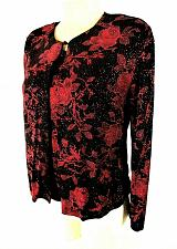 Buy JS Edward womens Medium L/S black RED GLITTER 2 piece top jacket LINED set (R)PM