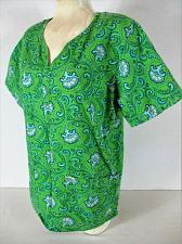 Buy THE SCRUB CO womens Small S/S green blue white FLORAL print scrub top (C)
