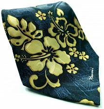 Buy Hawaiian Tropical Blue Gold Floral Polyester Novelty Tie