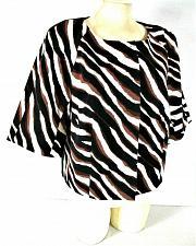 Buy JONESWEAR womens Sz 10 3/4 sleeve navy brown white ANIMAL print CROP jacket (C2)