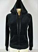 Buy CYNTHIA ROWLEY womens Small L/S black VELOUR zip up hooded stretch jacket (B)P