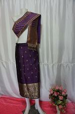 "Buy Eggplant Purple Laos Synthetic Silk sinh Wrap Skirt Pha Bieng Waist 29"""