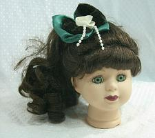 Buy Vintage Bisque Porcelain Doll Head Green Eyes Long Curly Hair Brunette Flange