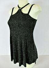 Buy KELLE womens Small spaghetti strap black GLITTER stretch top (O)