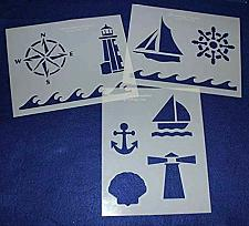 """Buy Mylar 3 Pieces of 14 Mil 8"""" X 10"""" Nautical Stencils- Painting /Crafts/ Templates"""