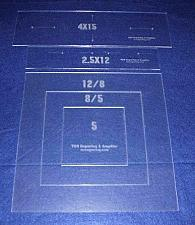 """Buy Common Pillow/Fabric Templates. 5 Piece Square Set w/piping 1/8"""" Acrylic"""