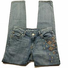 Buy Eddie Bauer Boyfriend Slim Jeans Size 0 Embroidered Aztec Tribal Medium Wash