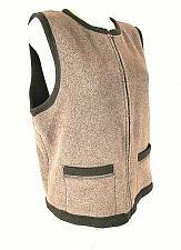 Buy CROSSROADS womens Large brown full ZIP 2 pockets DARK BROWN trim vest (C2)