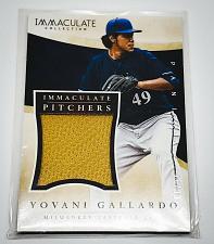 Buy MLB YOVANI GALLARDO BREWERS 2014 PANINI IMMACULATE GAME-WORN JERSEY SP/99 MNT