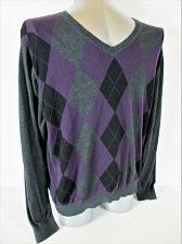 Buy J FERRAR mens Sz XL purple black gray ARGYLE cotton blend V NECK sweater (A7)P