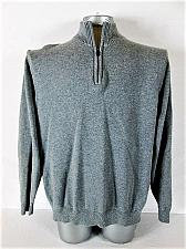 Buy LANDS END mens Large LONG SLEEVE GRAY 100% COTTON 1/4 ZIP NECK SWEATER (S)P