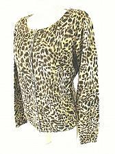 Buy ALLISON BRITTNEY womens XL L/S tan brown ANIMAL PRINT button up STRETCH top (C4)