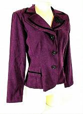 Buy DRESSBARN womens Sz 6 L/S purple black FAUX SUEDE velvet accents jacket (B9)