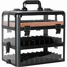 Buy Black Nail Polish Holder Organizer Storage Makeup Cosmetic Train Case Box Travel