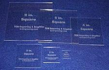 """Buy Square Templates 6 Piece Set 1"""" to 6"""". - Clear 1/8"""" No Seam - Actual Size"""
