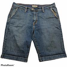 Buy Levis 515 Womens Bermuda Jean Shorts Size 14 Solid Blue Stretch Denim Pockets