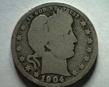 Buy 1904-O BARBER QUARTER DOLLAR ABOUT GOOD+ AG+ NICE ORIGINAL COIN BOBS COINS