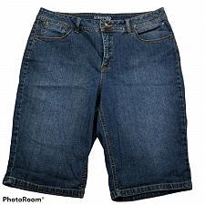 Buy St Johns Bay Womens Bermuda Jean Shorts Size 14 Dark Wash Blue Denim Stretch