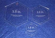 "Buy Hexagon Half Size Templates. 1.5"", 2.5"", 3.5"" - Clear 1/8"""