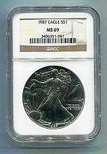 Buy 1987 AMERICAN SILVER EAGLE NGC MS69 BROWN LABEL PREMIUM QUALITY NICE COIN PQ