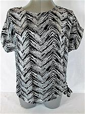 Buy JONES STUDIO womens Small CAP SLEEVE BLACK WHITE TIE SIDE TOP BLOUSE (M)P