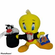 "Buy Vtg Looney Tunes Tux Tweety & Sylvester in Hat Magician Plush 1998 7"""