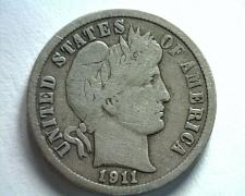 Buy 1911-D BARBER DIME FINE F NICE ORIGINAL COIN FROM BOBS COINS FAST SHIPMENT