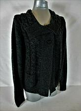 Buy STEPHANIE ROGERS womens Large L/S black 1 button CABLE KNIT sweater (B2)