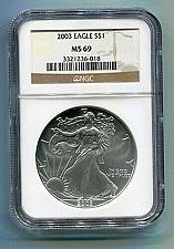 Buy 2003 AMERICAN SILVER EAGLE NGC MS69 BROWN LABEL PREMIUM QUALITY NICE COIN PQ