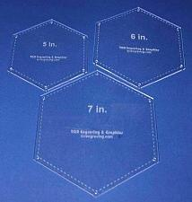 "Buy Hexagon Templates. 5"", 6"", 7"" - Clear w/Guide Line Holes 1/8"""