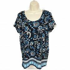 Buy LOFT Womens Blouse Top Size Medium Paisley Floral Black White Blue Scoop Neck