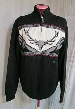 Buy Chaps Ralph Lauren Men's Reindeer Elk Deer Sweater Size M Black 1/2 1/4 Zip