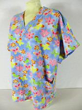 Buy BARCO UNIFORMS womens Large S/S blue pink FLORAL 2 pocket scrub top (O)