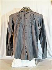 Buy GUESS mens MARCIANO Medium L/S GRAY EMBROIDERED BUTTON DOWN SHIRT (F)