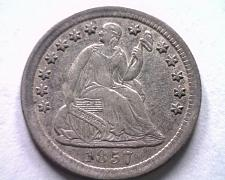 Buy 1857 SEATED LIBERTY HALF DIME ABOUT UNCIRCULATED+ AU+ NICE ORIGINAL COIN