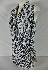 Buy SUZY SHIER womens Small sleeveless black white tan ANIMAL PRINT wrap top (Z)P