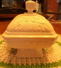 Buy Jeannette Pink Milk Glass Covered Candy Dish