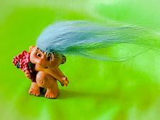 "Buy VINTAGE RUSS 2"" MINIATURE BLUE HAIR TROLL DOLL VERY COOL"