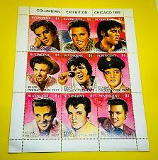 """Buy St. Vincent 1992 Elvis Presley Scott #1642? Sheet of 9 """"Columbian Exhibition"""""""