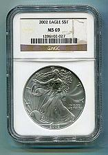 Buy 2002 AMERICAN SILVER EAGLE NGC MS69 BROWN LABEL PREMIUM QUALITY NICE COIN PQ