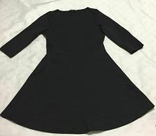 Buy Zara Basic black dress flared Size Large 3/4 sleeve