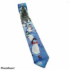 Buy Vintage Ralph Marlin Penguins On Ice Skating Christmas Tree Novelty Necktie