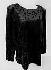 Buy SAG HARBOR womens Sz 12 L/S black floral VELVET top (F)P