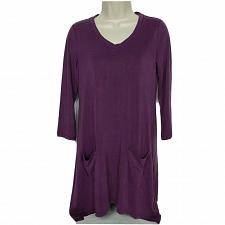 Buy LOGO By Lori Goldstein Sanded Modal V Neck Top Size XXS Purple Patch Pocket