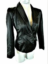 Buy VICTOR ALFARO womens Sz 4P L/S black 1 BUTTON closure shiny lined jacket (B9)