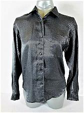 Buy NY JEANS womens Medium L/S BLACK GRAY CHECKED BUTTON UP TOP BLOUSE (H)P
