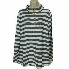 Buy Denim & Co. Active Texture Henley Long-Sleeve Top w/ Roll Tab XL Blue Striped