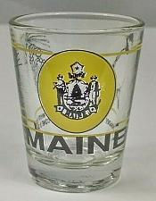 "Buy Maine Logo White Pine Cone Chickadee 2.25"" Collectible Shot Glass"